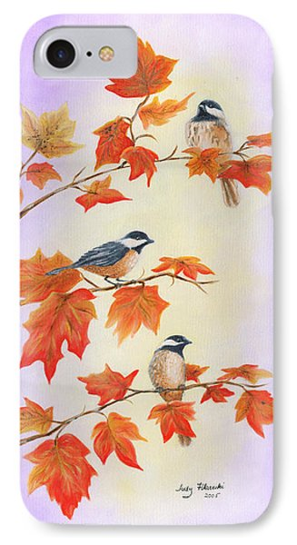 IPhone Case featuring the painting Fall Chickadees by Judy Filarecki