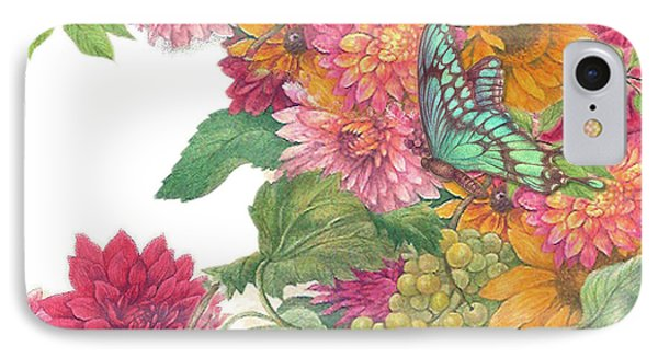 IPhone Case featuring the painting Fall Florals With Illustrated Butterfly by Judith Cheng