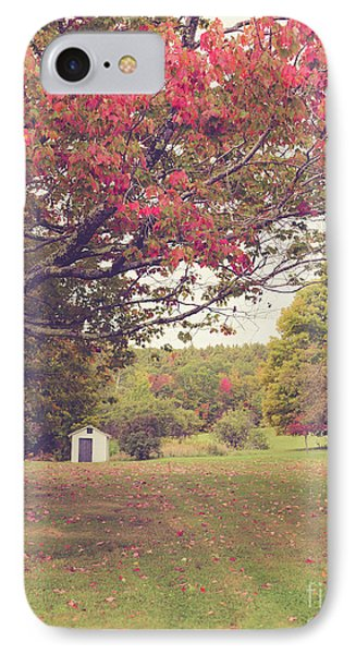 Fall Foliage And Old New England Shed IPhone Case by Edward Fielding