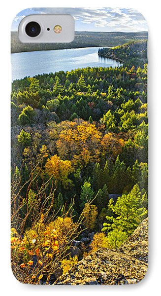 Fall Forest And Lake Top View Phone Case by Elena Elisseeva