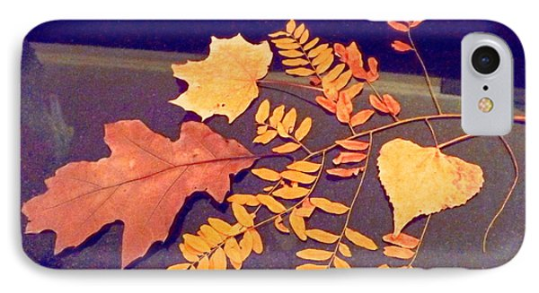 Fall Leaves On Granite Counter Phone Case by Annie Gibbons