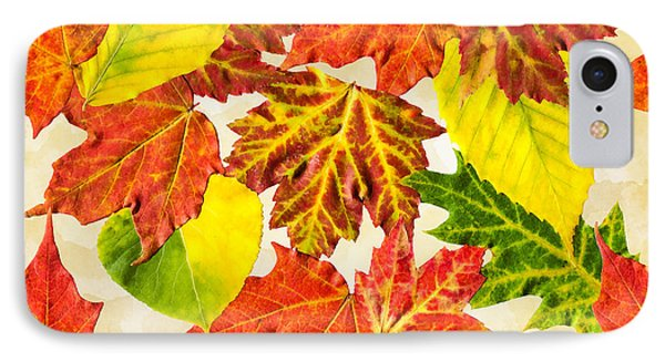 IPhone Case featuring the mixed media Fall Leaves Pattern by Christina Rollo