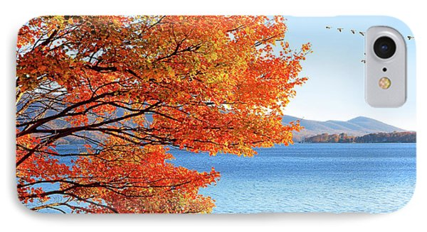Fall Maple Tree Graces Smith Mountain Lake, Va IPhone Case by The American Shutterbug Society
