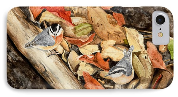 Fall Nuthatch Pair IPhone Case