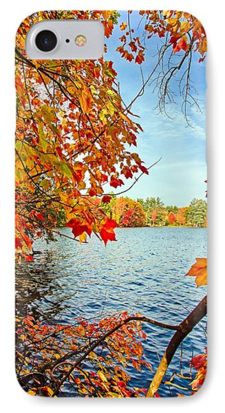 Fall On Lake Opechee IPhone Case by Robert Clifford