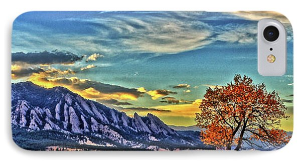 IPhone Case featuring the photograph Fall Over The Flatirons by Scott Mahon