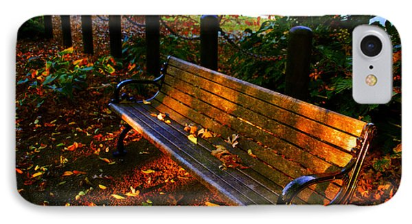 Fall Scene And The Bench In The Park IPhone Case by Susanne Van Hulst