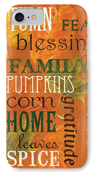 Fall Typography 1 IPhone Case by Debbie DeWitt