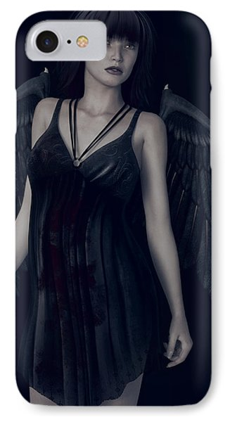IPhone Case featuring the painting Fallen Angel - Dark And Gothic by Maynard Ellis