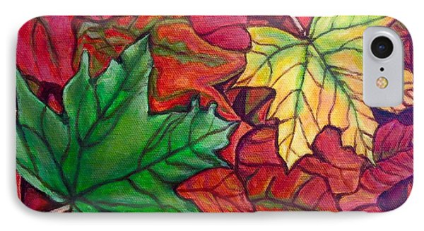 IPhone Case featuring the painting Falling Leaves I Painting by Kimberlee Baxter