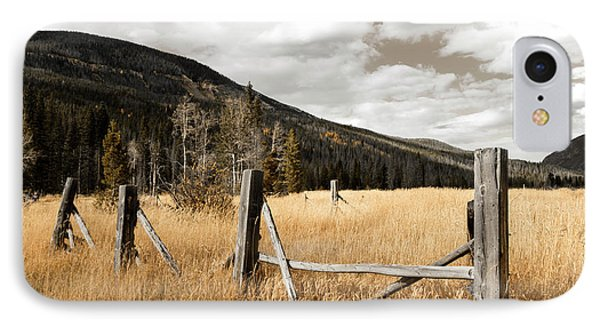 IPhone Case featuring the photograph Fallowfield Weathered Fence Rocky Mountain National Park Dramatic Sky by John Stephens