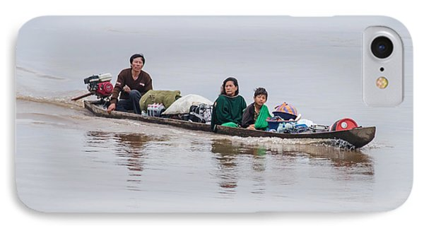 Family Boat On The Amazon IPhone Case by Allen Sheffield