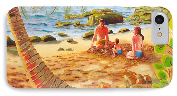 Family Day At Jobos Beach Phone Case by Milagros Palmieri
