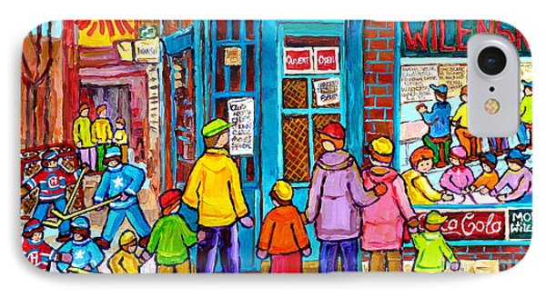 Family Day At Wilensky Lunch Counter Montreal Street Hockey Winter Scene Carole Spandau IPhone Case by Carole Spandau