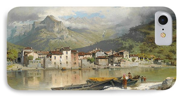 Family Fisherman In Lecco On Lake Como IPhone Case
