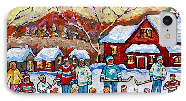 Family Skating Party Paintings Of Children Playing Canadian Country Winter Scene  Art Carole Spandau IPhone Case by Carole Spandau