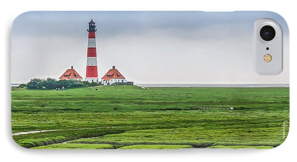 Famous Westerheversand Lighthouse At North Sea, Schleswig-holstein, Germany IPhone Case by JR Photography
