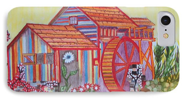 IPhone Case featuring the painting Fanasty Waterwheel by Connie Valasco