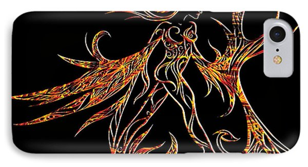 IPhone Case featuring the drawing Fancy Flight On Fire by Jamie Lynn