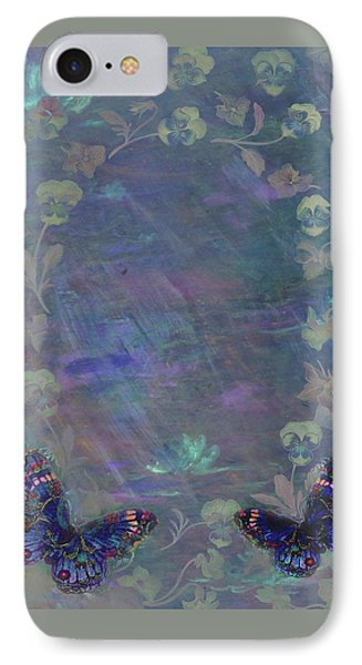 IPhone Case featuring the painting Fantasy Butterfly Painted Pansy by Judith Cheng