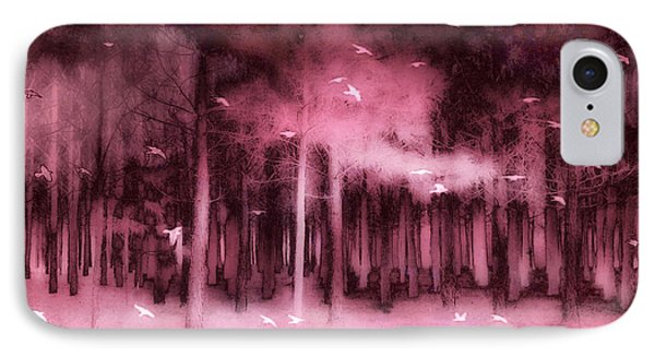 Fantasy Fairytale Pink Mauve Woodlands Trees Nature - Fairytale Woodlands Forest IPhone Case