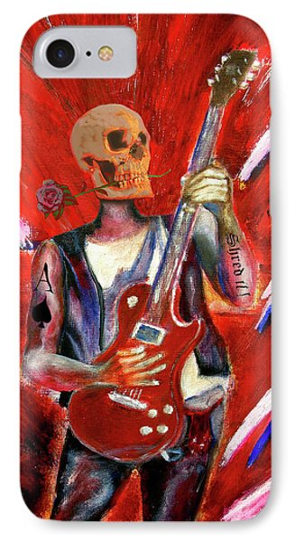 Fantasy Heavy Metal Skull Guitarist IPhone Case by Tom Conway