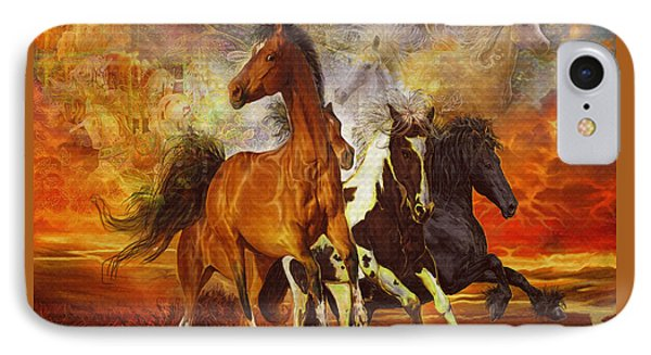 IPhone Case featuring the painting Fantasy Horse Visions by Steve Roberts
