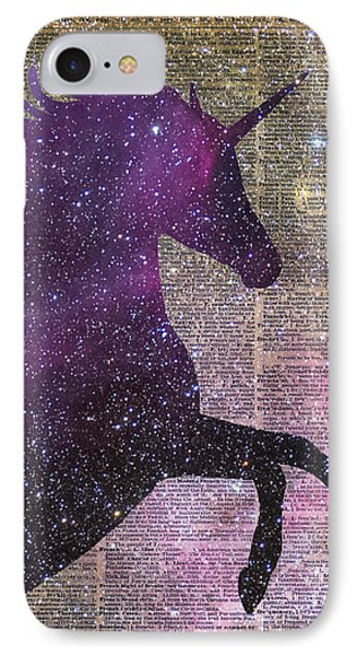 Fantasy Unicorn In The Space IPhone 7 Case by Jacob Kuch