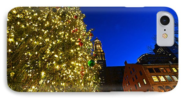 Fanueil Hall Christmas Tree Bostom Ma Quincy Market Custom House 2 IPhone Case by Toby McGuire