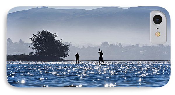 Faraway Paddle Boarders In Morro Bay Phone Case by Bill Brennan - Printscapes