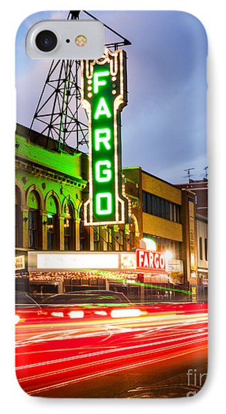 Fargo Theatre And Downtown Buidlings At Night IPhone Case by Paul Velgos