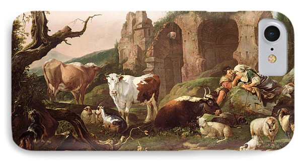 Farm Animals In A Landscape IPhone 7 Case by Johann Heinrich Roos