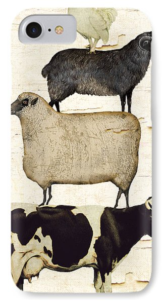 Sheep iPhone 7 Case - Farm Animals Pileup by Mindy Sommers