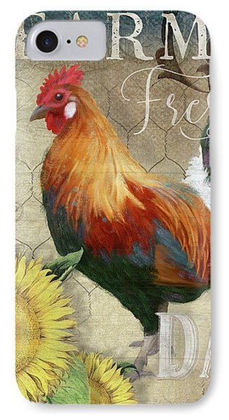 Farm Fresh Red Rooster Sunflower Rustic Country IPhone Case by Audrey Jeanne Roberts