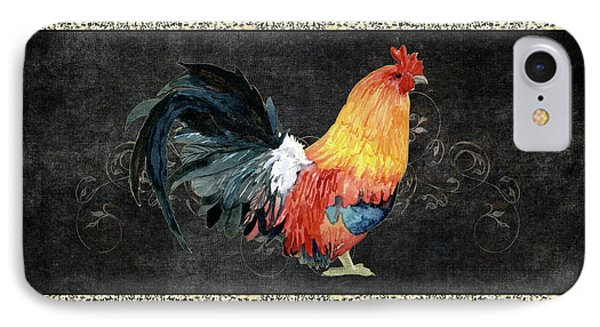 Farm Fresh Rooster 4 - On Chalkboard W Diamond Pattern Border IPhone Case by Audrey Jeanne Roberts