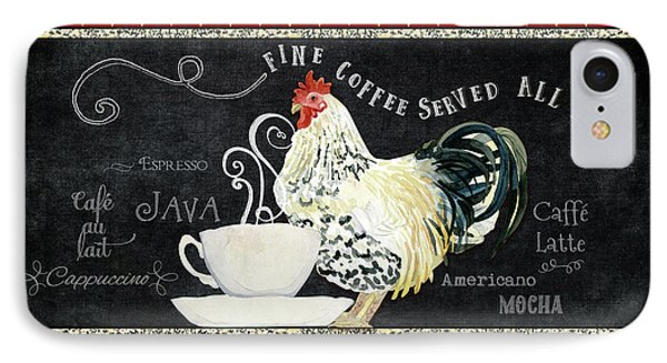 IPhone Case featuring the painting Farm Fresh Rooster 5 - Coffee Served Chalkboard Cappuccino Cafe Latte  by Audrey Jeanne Roberts