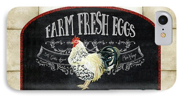 IPhone Case featuring the painting Farm Fresh Roosters 1 - Fresh Eggs Typography by Audrey Jeanne Roberts