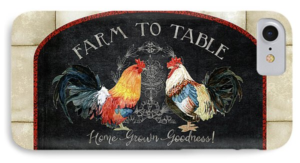 IPhone Case featuring the painting Farm Fresh Roosters 2 - Farm To Table Chalkboard by Audrey Jeanne Roberts