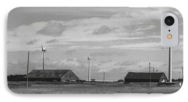 Farm Land And Wind Turbine IPhone Case by Qingrui Zhang