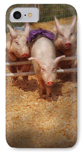 Farm - Pig - Getting Past Hurdles Phone Case by Mike Savad