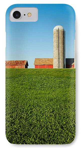 Farm Silos And Shed On Green And Against Blue IPhone Case