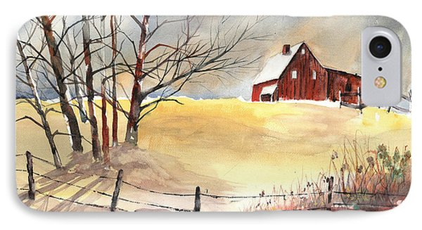Farmhouse Bathed In Winter Sun IPhone Case by Carol Helene