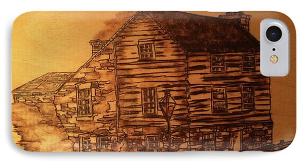 IPhone Case featuring the pyrography Farmhouse by Denise Tomasura