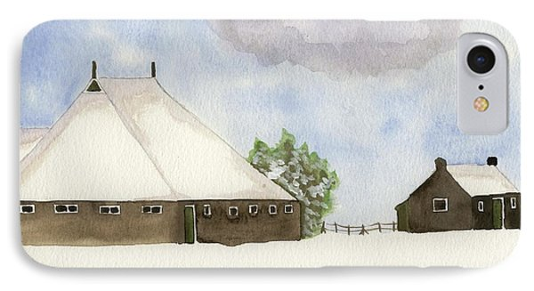 IPhone Case featuring the painting Farmhouse In The Snow by Annemeet Hasidi- van der Leij