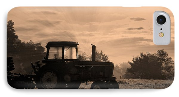Farming Good Morning John Deere Sepia IPhone Case by Thomas Woolworth