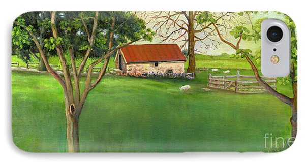 IPhone Case featuring the painting Farmland Scene by Marlene Book