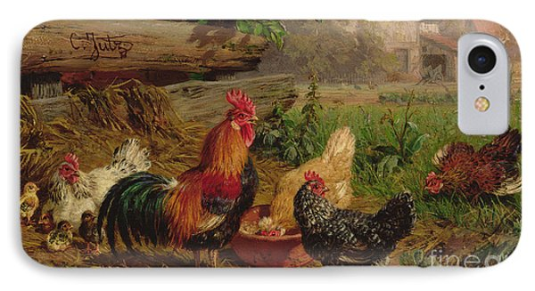 Farmyard Chickens IPhone Case by Carl Jutz