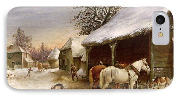 Farmyard In Winter  Phone Case by Henry Woollett