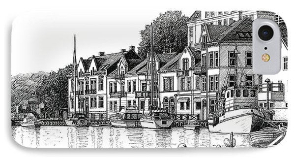 Farsund Harbor In Ink IPhone Case by Janet King