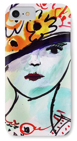 Fashion, Vintage Hat With Flowers IPhone Case